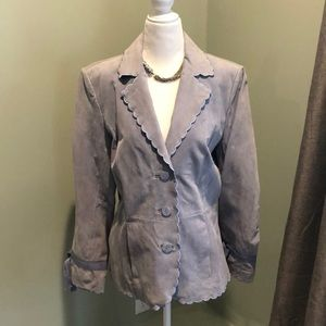 Terry Lewis Dusty Blue Suede Scallop Collar Jacket